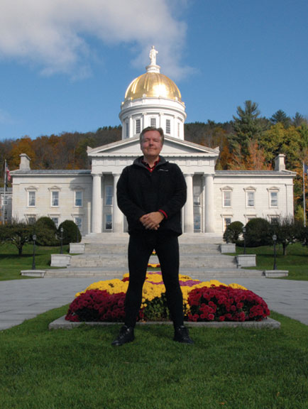 Man wearing UnJeans leggings in Montpelier, Vermont