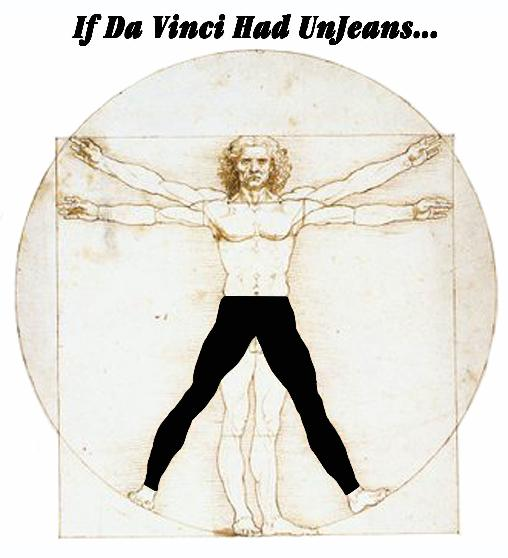 Leonardo Da Vinci Vitruvian Man wearing UnJeans Freedom Pants leggings